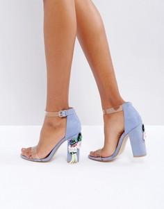 Босоножки на блочном каблуке с декоративной отделкой Truffle Collection - Синий