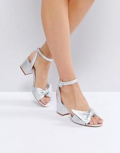Босножки на каблуке средней высоты с декоративным узелком и эффектом металлик ALDO - Серебряный