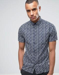 Рубашка с короткими рукавами и принтом Solid - Темно-синий