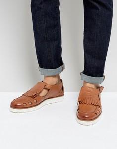 Светло-коричневые сандалии с пряжками London Brogues - Рыжий