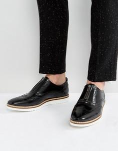 Черные кожаные броги с молнией ASOS - Черный