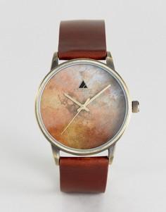 Часы с состаренным кожаным ремешком и шлифованным циферблатом ASOS - Коричневый