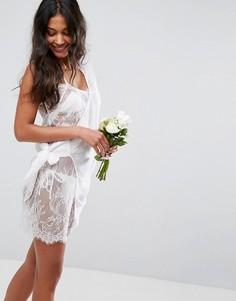 Кружевное пляжное платье на бретельках с запахом сбоку ASOS BRIDAL - Белый