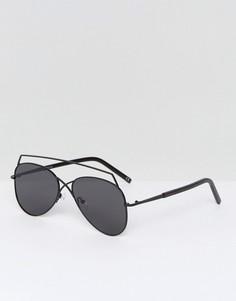 Солнцезащитные очки-авиаторы в черной оправе ASOS - Черный