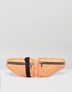 Стеганая сумка-кошелек на пояс с двумя отделениями ASOS LIFESTYLE - Оранжевый