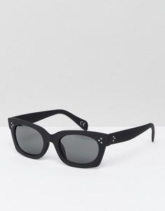 Черные квадратные солнцезащитные очки с прорезиненной отделкой ASOS - Черный