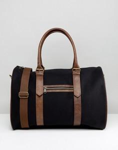 Черная парусиновая сумка с отделкой из искусственной кожи ASOS - Черный