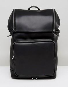 Рюкзак из искусственной кожи с массивной молнией ASOS - Черный