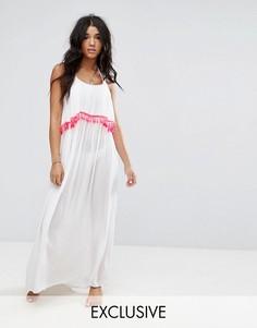 Пляжное платье макси с отделкой кисточками Akasa - Белый