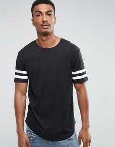 Длинная футболка с закругленным краем и полосками на рукавах Troy - Черный
