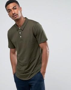 Трикотажная футболка-поло с закругленным низом Troy - Зеленый
