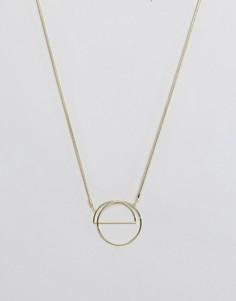 Длинное ожерелье с подвеской-кольцом Pieces - Золотой