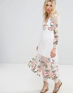 Платье с длинными рукавами и цветочной вышивкой Rd & Koko - Белый