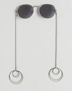 Круглые солнцезащитные очки с серьгами-кольцами ASOS - Серебряный