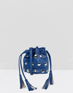 Сумка на плечо с заклепками и кисточками Yoki Fashion - Темно-синий