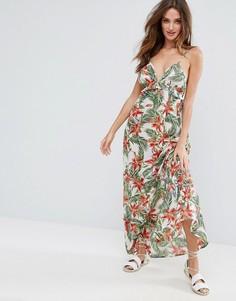 Пляжное платье макси с оборкой и тропическим принтом ASOS - Мульти