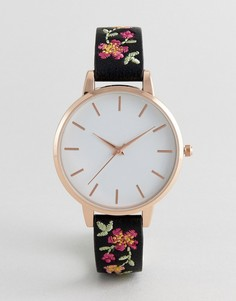 Часы с вышивкой на ремешке New Look - Черный