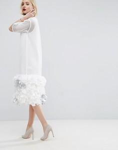 Сетчатое платье миди с завязками ASOS WHITE - Белый