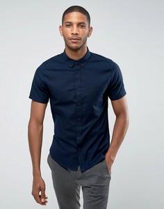 Оксфордская приталенная рубашка с короткими рукавами Burton Menswear - Темно-синий
