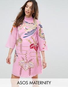 Цельнокройное платье для беременных с вышивкой ASOS Maternity - Розовый