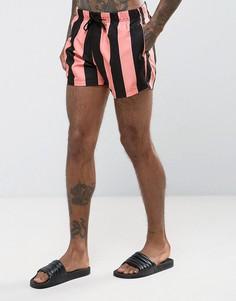 Короткие шорты для плавания с розовыми полосками ASOS - Розовый