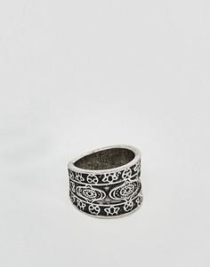 Шлифованное серебряное кольцо с тиснением ASOS - Серебряный