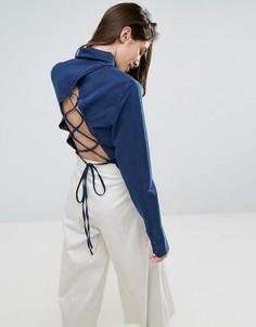 Темно-синяя джинсовая рубашка со шнуровкой ASOS - Темно-синий