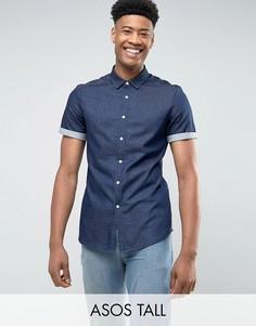 Джинсовая зауженная рубашка ASOS TALL - Темно-синий