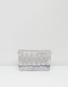 Замшевая сумка‑клатч с декоративной отделкой и съемным ремешком Park Lane - Серый