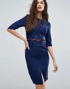 Облегающее платье с сетчатыми вставками и отделкой Little Mistress - Темно-синий