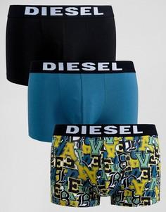 3 пары боксеров-брифов с принтом и логотипом на поясе Diesel - Мульти