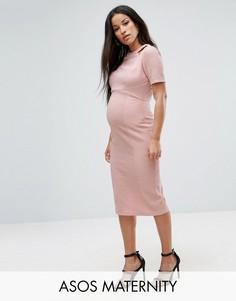 Фактурное структурированное платье с вырезами ASOS Maternity - Розовый