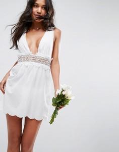 Пляжное платье с кружевной отделкой ASOS BRIDAL - Белый