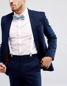 Набор с галстуком-бабочкой с цветочным принтом и подтяжками ASOS - Синий