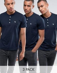3 темно-синих обтягивающих футболки хенли Abercrombie & Fitch - Скидка 30 - Темно-синий