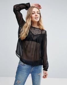 Прозрачная блузка в стиле бохо Ichi - Черный