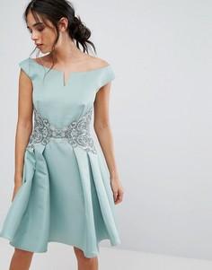 Платье миди с ажурной вставкой на поясе Little Mistress - Зеленый