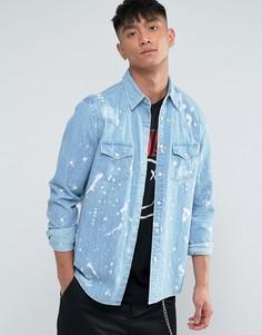 Джинсовая рубашка классического кроя в стиле вестерн ASOS - Синий