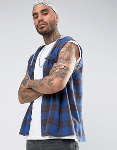 Oversize-рубашка без рукавов в клетку с капюшоном ASOS - Синий
