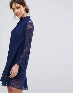 Свободное кружевное платье с длинными рукавами Little Mistress - Темно-синий