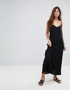 Платье с перекрестами на спине Selected - Черный