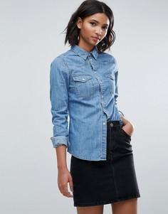 Синяя выбеленная джинсовая рубашка приталенного кроя ASOS - Синий