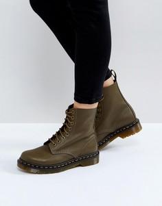Ботинки цвета хаки с 8 парами люверсов Dr Martens - Зеленый
