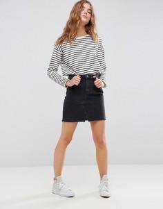 Черная выбеленная джинсовая мини‑юбка ASOS - Черный