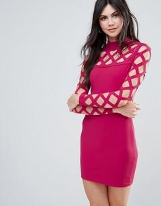 Облегающее платье с декоративной сеткой Parisian - Розовый