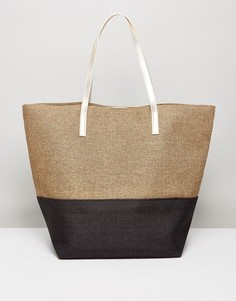 Пляжная сумка колор блок (черный/золотистый) Vincent Pradier - Бежевый