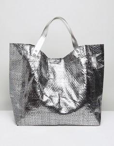 Плетеная пляжная сумка оловянного цвета Vincent Pradier - Серебряный