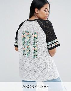 Кружевная футболка с тропическим принтом ASOS CURVE - Мульти
