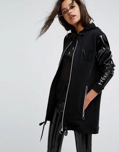 Oversize-худи с лакированными рукавами Versace Jeans - Черный