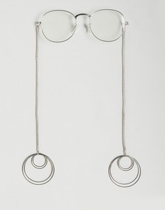 Круглые очки с прозрачными стеклами и серьги-кольца ASOS - Серебряный